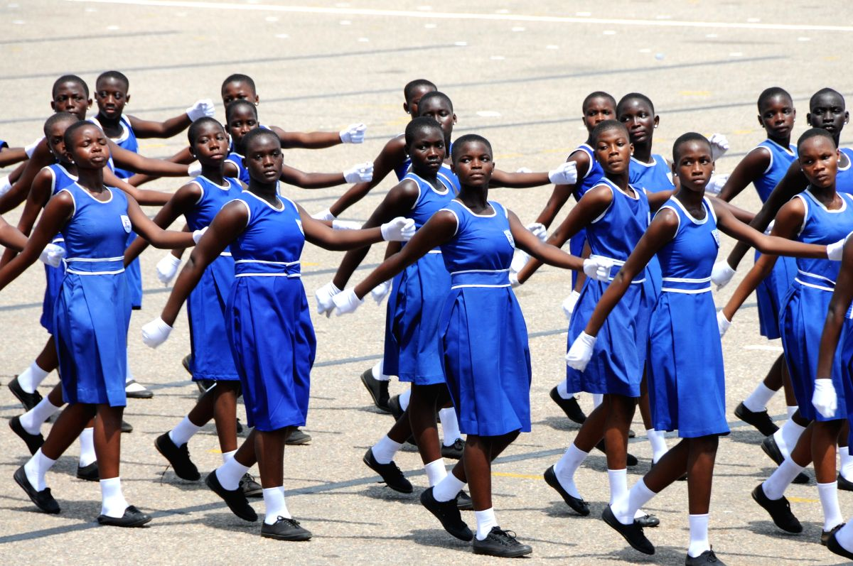 ACCRA, March 6, 2017 (Xinhua) -- School students march during?Ghana's 60th?Independence?Day?celebration at the?Independence?Square in Accra, capital of?Ghana, March 6, 2017. Ghana marked its 60th Independence Day at the Independence Square in the cap