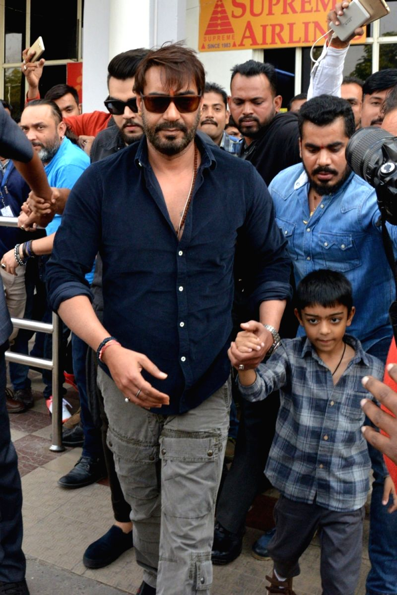 Ajay Devgan with his son Yug Devgan. Interest name Yug eh?