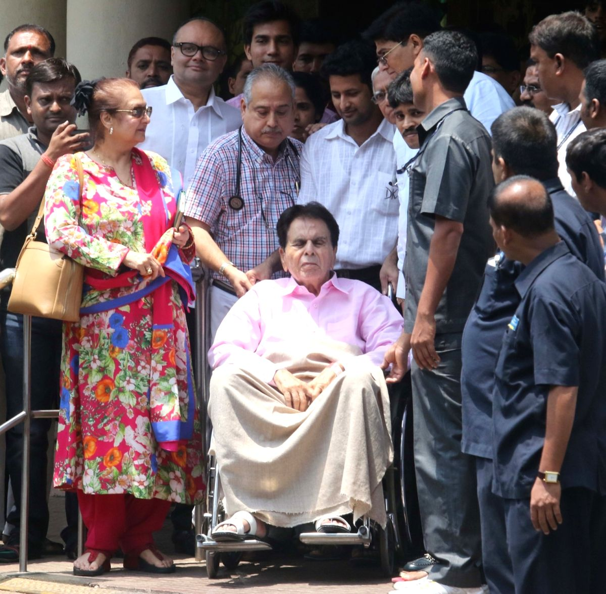 Actor Dilip Kumar after being discharged from Lilavati Hospital Mumbai, on April 21, 2016.