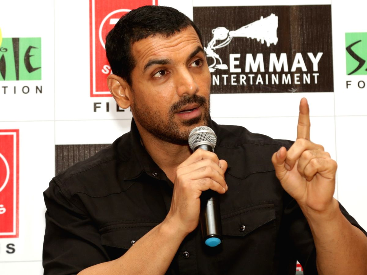 "New Delhi: Actor John Abraham during a press meet to promote his upcoming film ""Satyameva Jayate"" in New Delhi on Aug 10, 2018."