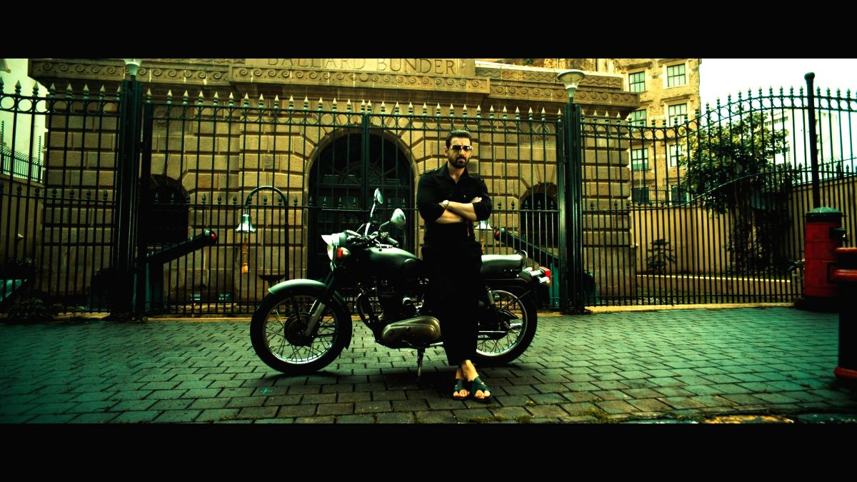 """Actor John Abraham is dressed in all-black in the latest still from his upcoming gangster drama """"Mumbai Saga""""."""