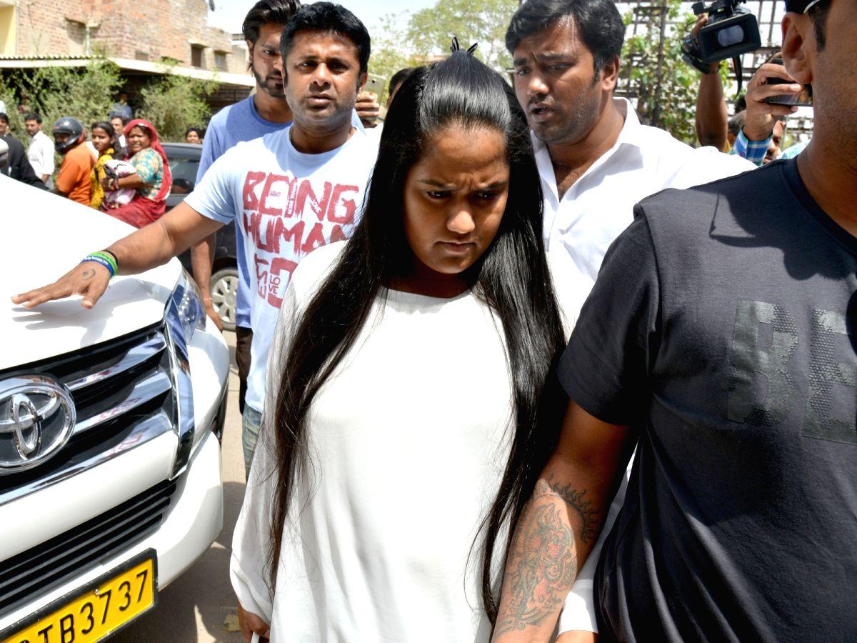 Actor Salman Khan's sisters Arpita and Alvira Khan arrive at a Jodhpur rural court on April 7, 2018. Salman Khan was sentenced to five years of imprisonment in the 1998 black buck poaching ...