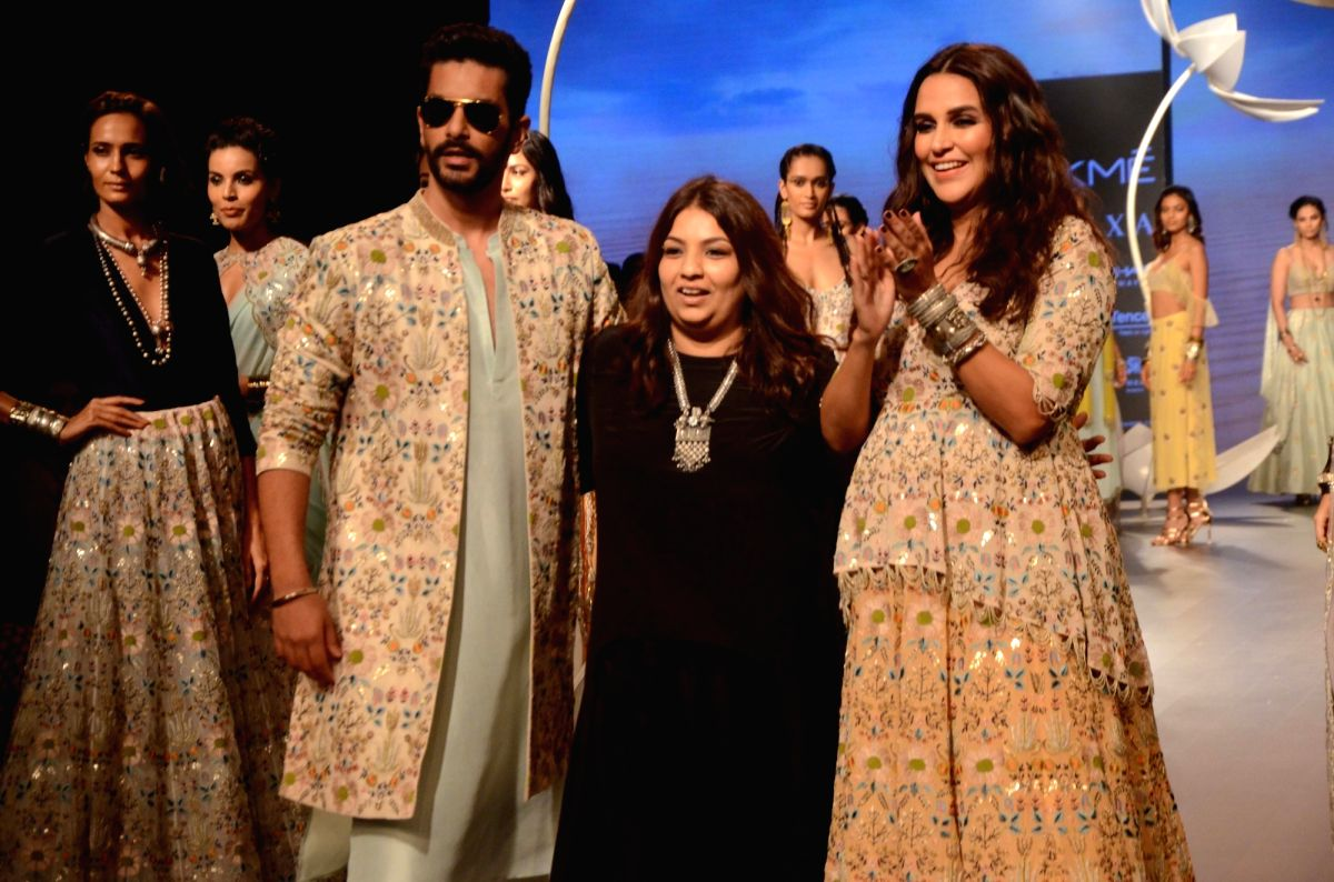 Proud parents-to-be Angad Bedi and Neha Dhupia at the event
