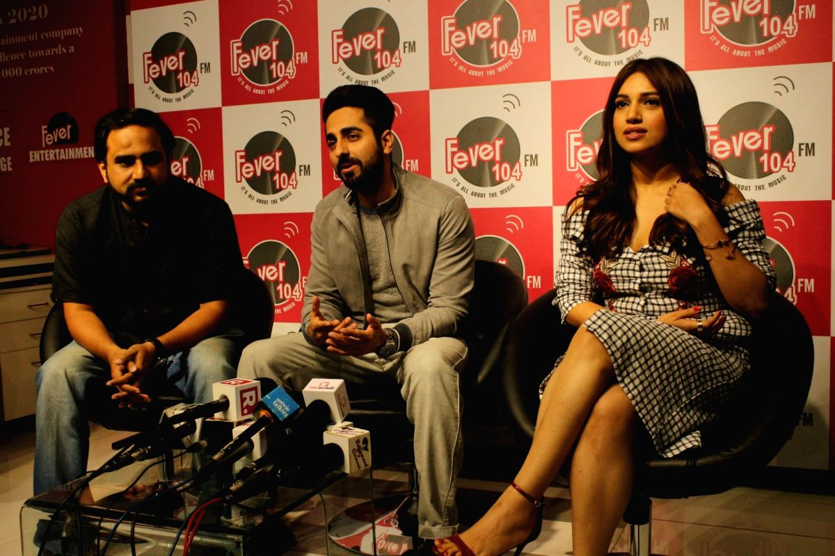 """Actors Bhumi Pednekar and Ayushmann Khurrana along with """"Shubh Mangal Savdhan"""" director R.S. Prasanna during the promotion of the song 'Kanha' from their upcoming film """"Shubh ..."""