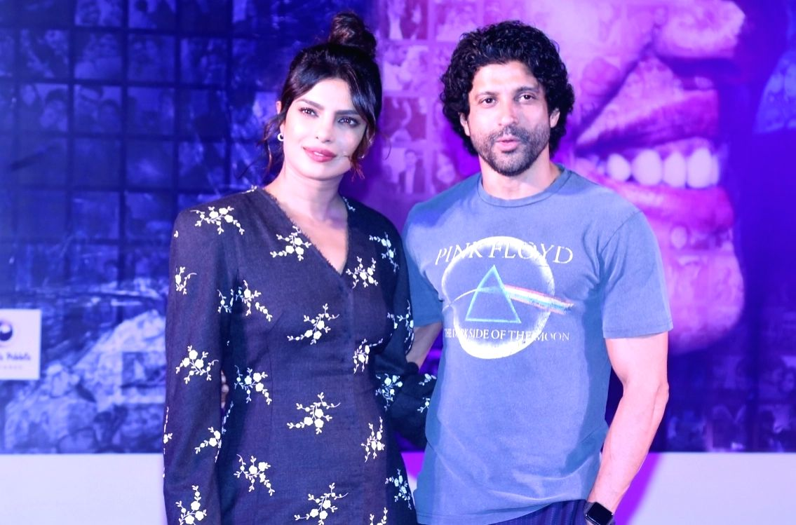 """Actors Farhan Akhtar and Priyanka Chopra during the promotions of their upcoming film """"The Sky Is Pink"""""""