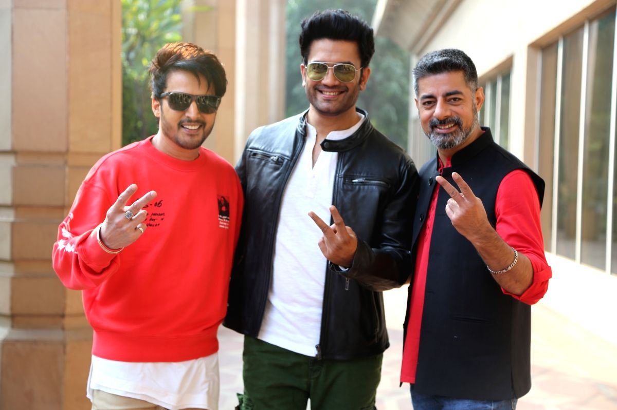 "Jimmy Shergill, Sharad Kelkar and Sushant Singh during the promotion of ZEE5 web-series ""Rangbaaz Phirse"""