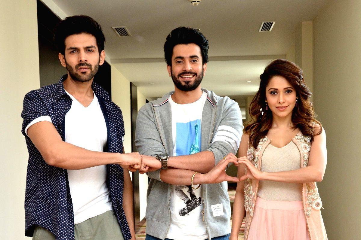 Actors Kartik Aaryan, Sunny Singh and Nushrat Bharucha