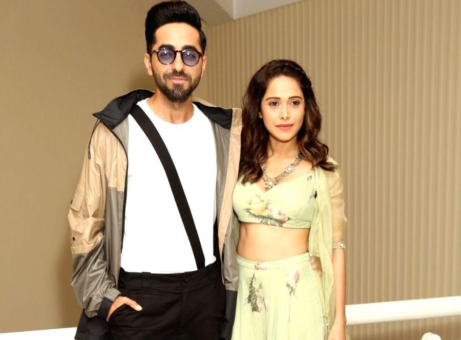 "New Delhi:  Actors Nushrat Barucha,Ayusmann Khurrana during promotions of  movie ""Dream Girl""  in New Delhi, Sep 2, 2019."