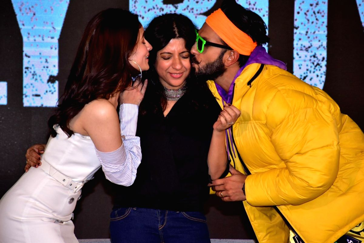"Actors Ranveer Singh, Alia Bhatt and Director Zoya Akhtar at the trailer launch of upcoming film ""Gully Boy"" in Mumbai on Jan 9, 2019."