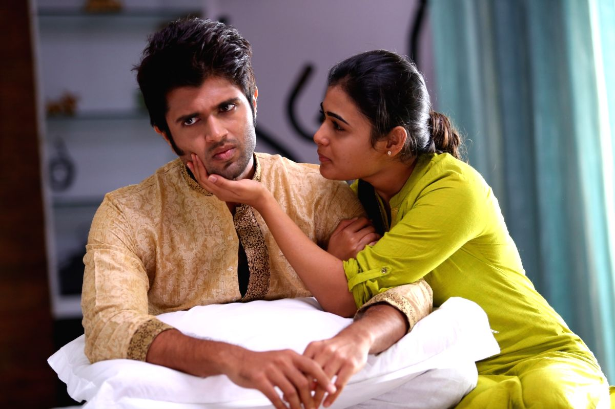 """Actors Vijay Devarakonda and Shalini Kumar during a Movie Stillls """"Arjun Reddy"""""""