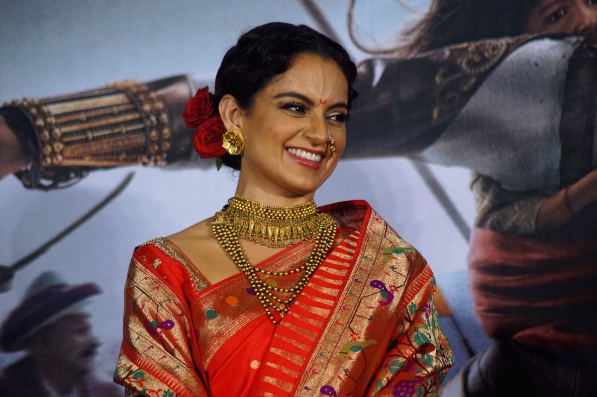 "Actress Kangana Ranaut at the trailer launch of her upcoming film ""Manikarnika: The Queen of Jhansi"""