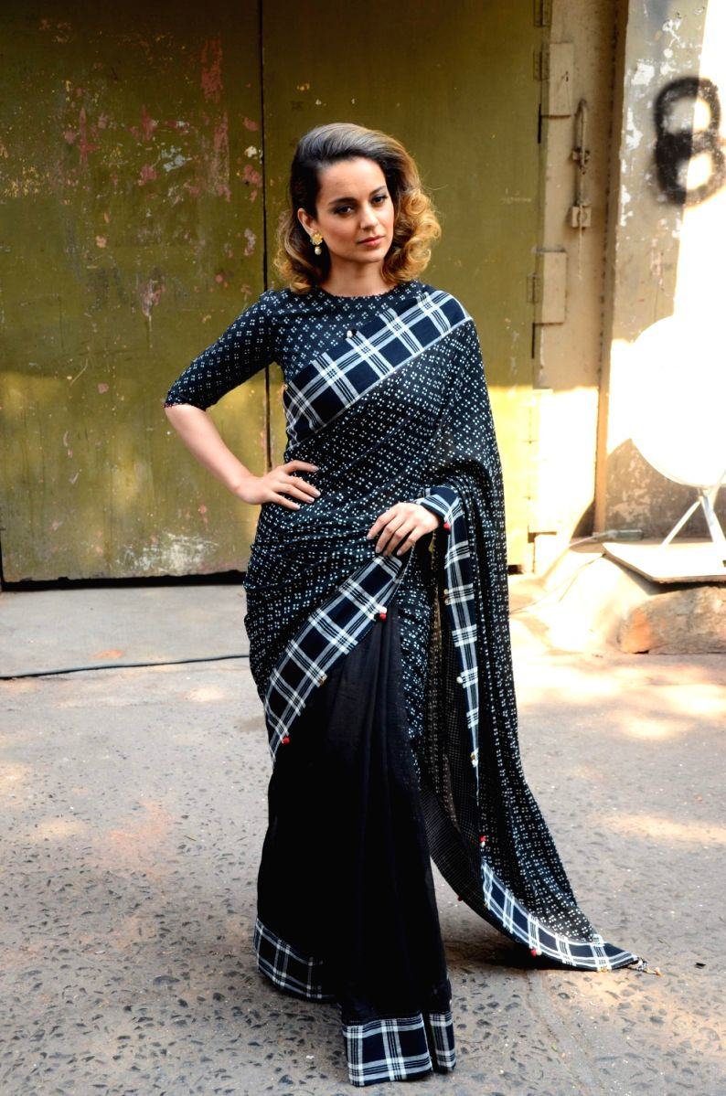 Sarees can have checkered prints too, proves Kangana