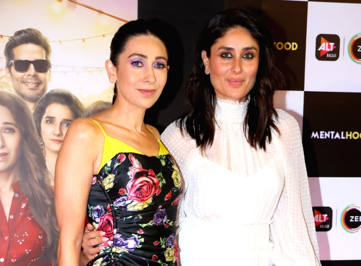 "Actress Karisma Kapoor with her sister Kareena Kapoor at the screening of web series ""Mentalhood"""