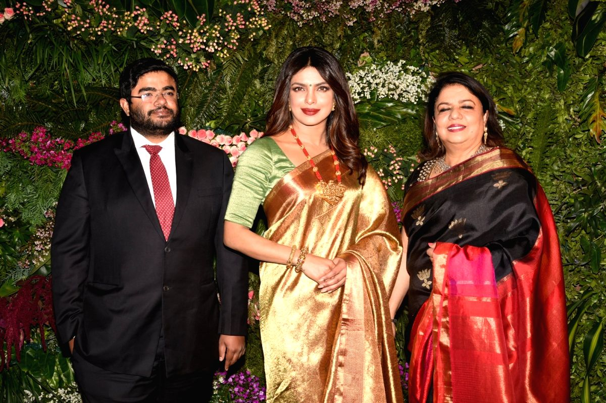 Priyanka Chopra with her mom Madhu Chopra and brother Siddharth Chopra