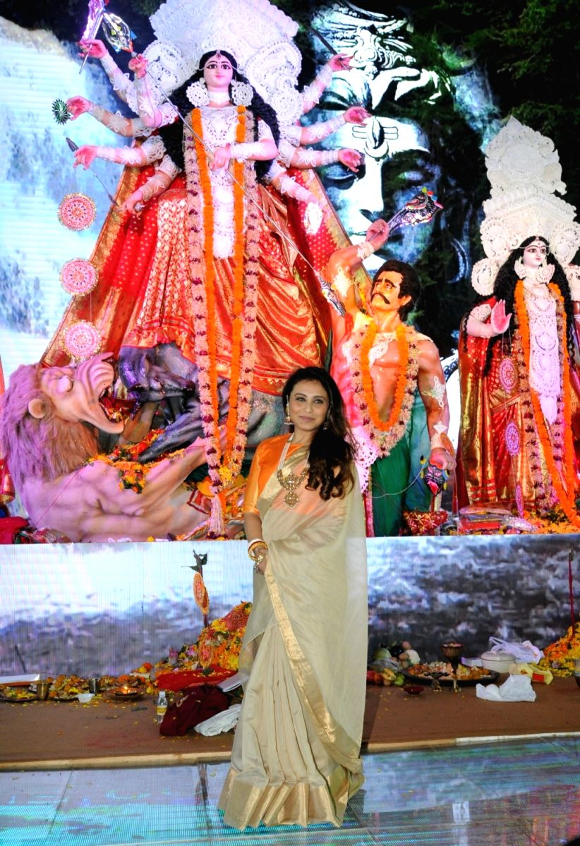 Rani Mukherjee at the puja celebrations