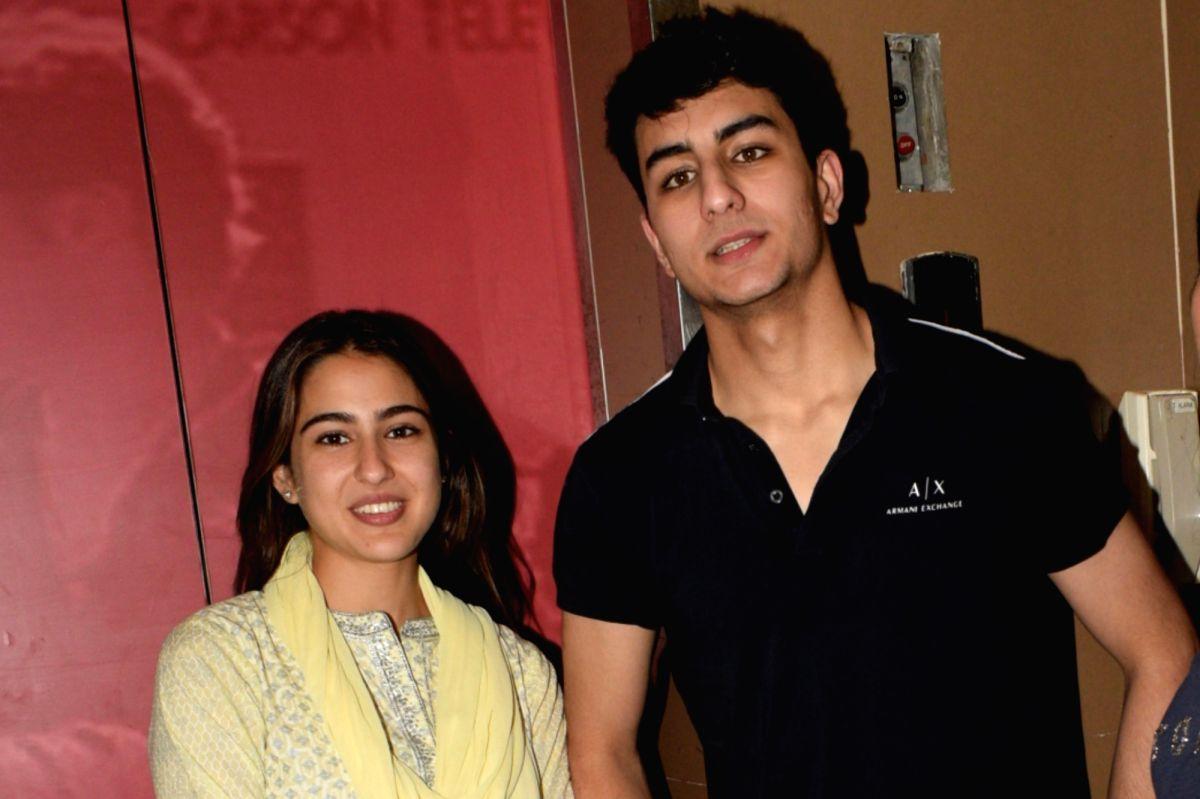 Actress Sara Ali Khan with her brother Ibrahim Ali Khan.