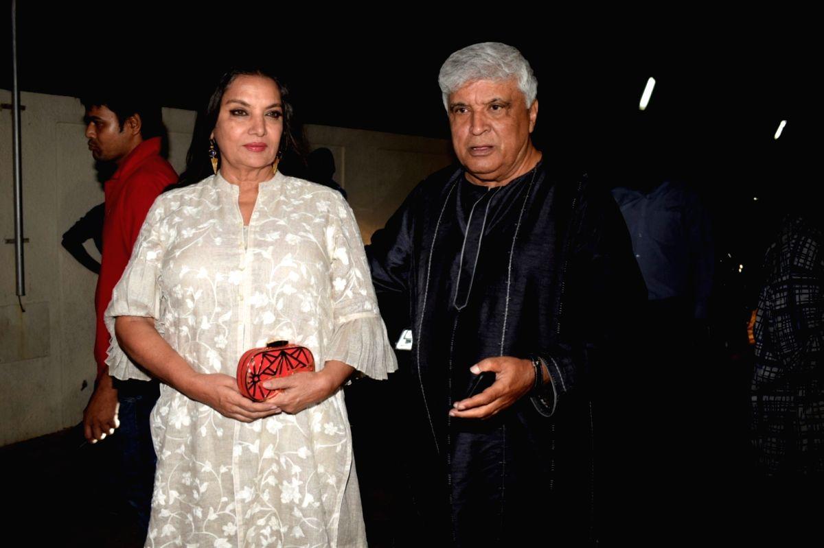 Actress Shabana Azmi along with his husband Javed Akhtar.