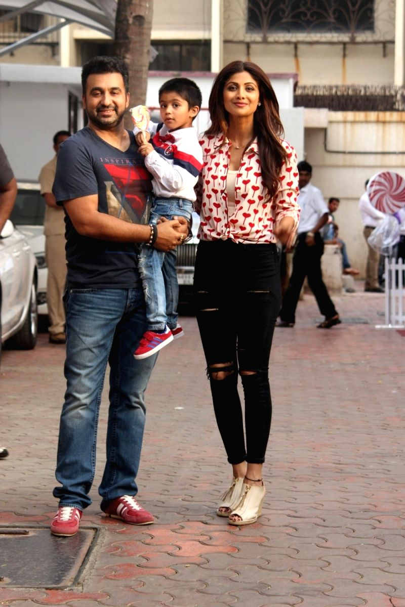 Shilpa Shetty along with her huband Raj Kundra and son Viaan at Viaan's birthday celebrations