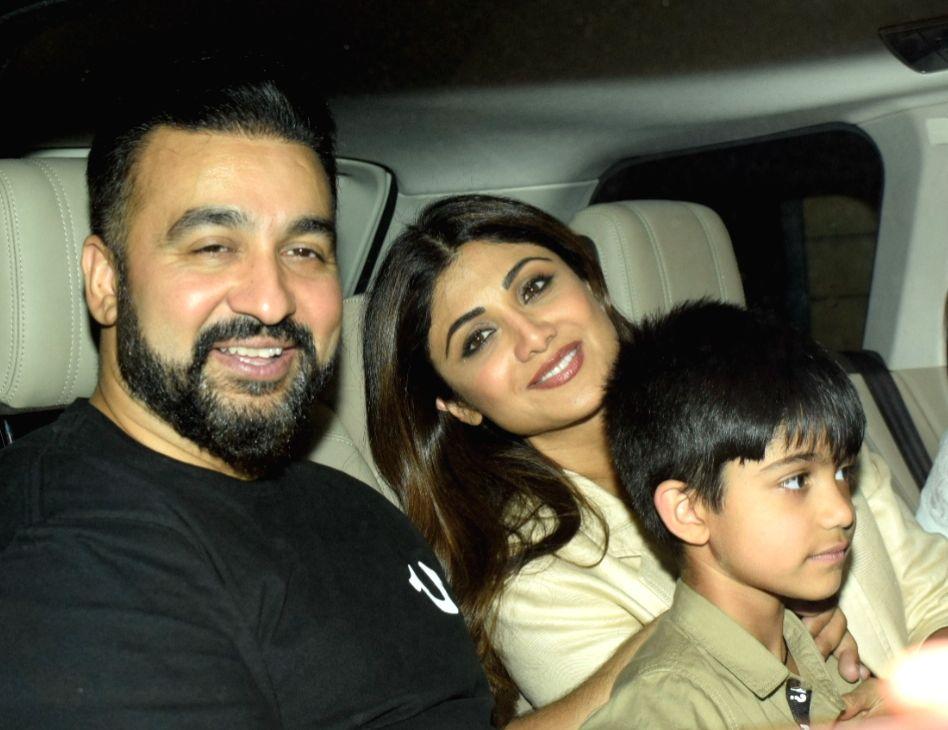 Actress Shilpa Shetty Kundra arrives with husband Raj Kundra and son Viaan.