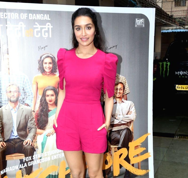 "Mumbai: Actress Shraddha Kapoor during the promotions of his upcoming film ""Chhichhore"" in Mumbai on Sep 1, 2019."