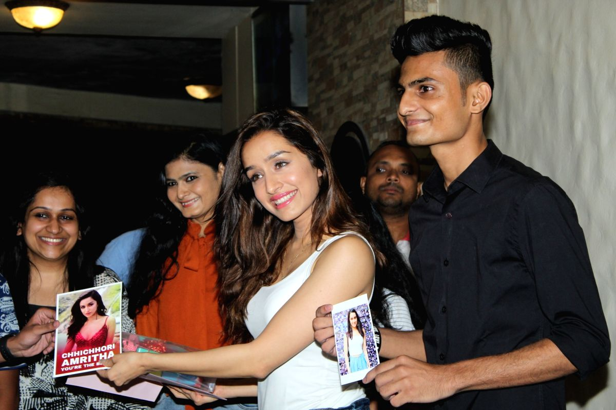 Actress Shraddha Kapoor with her fans at her residence