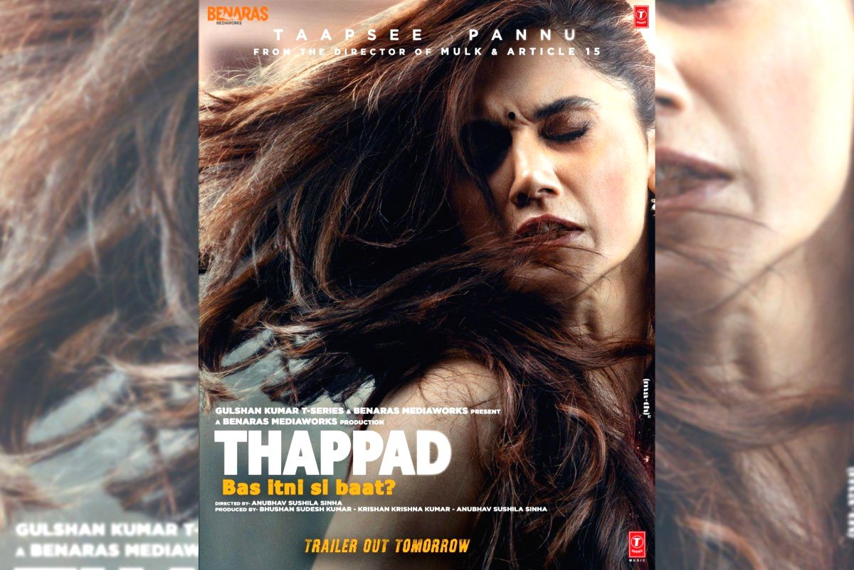 "Actress Taapsee Pannu has shared the first look poster of her upcoming film ""Thappad"" in which it looks like she has been slapped hard by someone. The poster also has a thought provoking line - ""Thappad: Bas itni si baat?"""