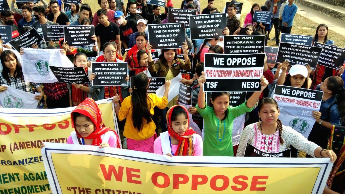 Agartala: North East Students' Organisation stage a demonstration against Citizenship (Amendment) Bill, or CAB, in Agartala on Dec 10, 2019.