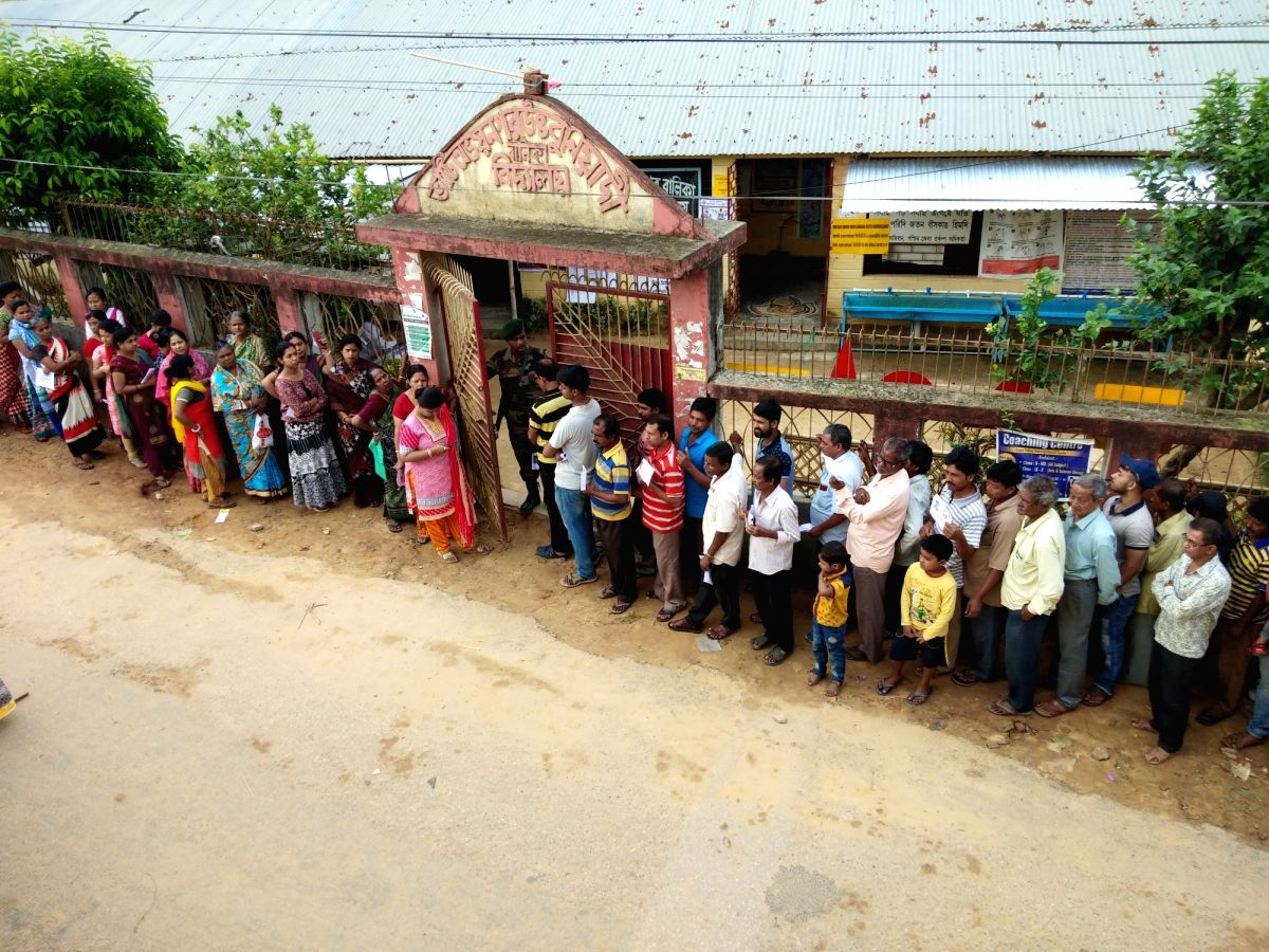 Agartala: People queue up early morning to cast their vote at a polling centre in Agartala April 11,  2019.
