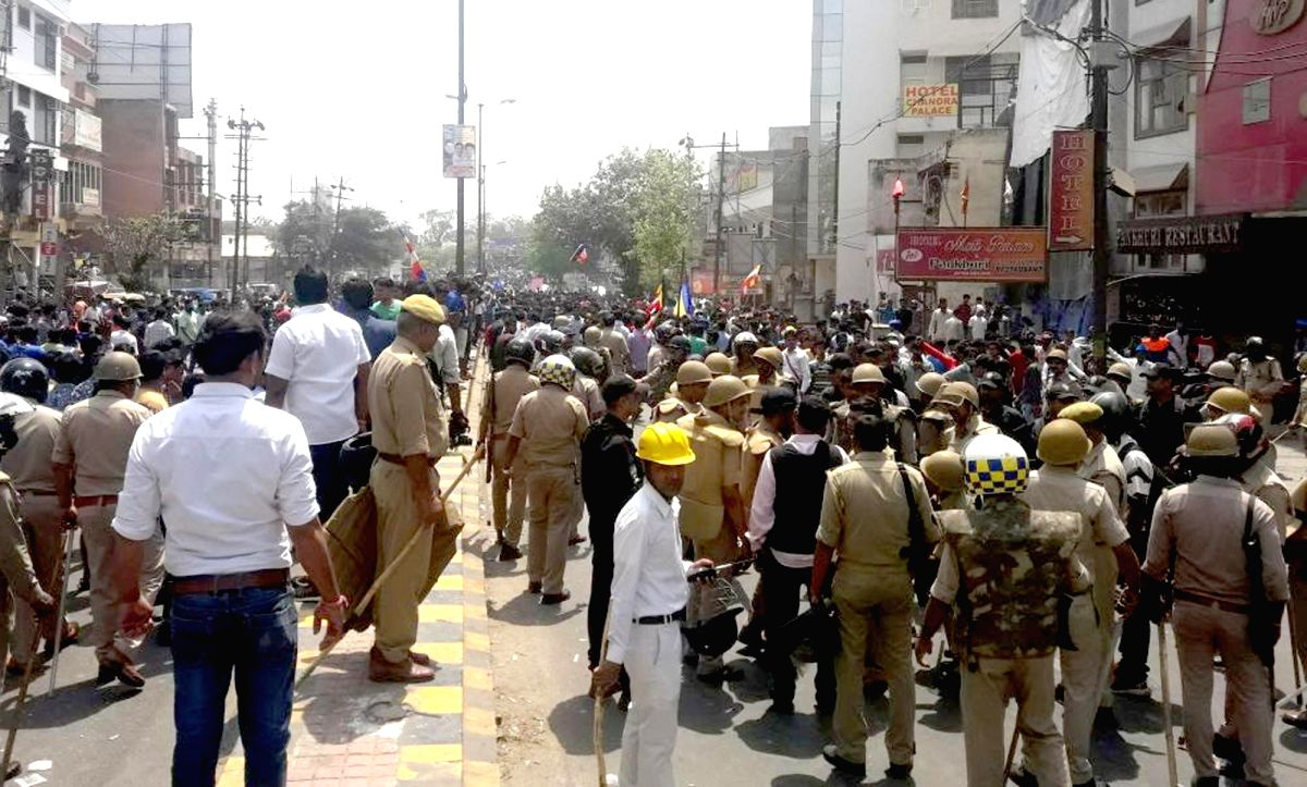 Agra: Security beefed-up in Agra during a nation wide strike called to protest against the dilution of the SC/ST Prevention of Atrocities Act, on April 2, 2018.