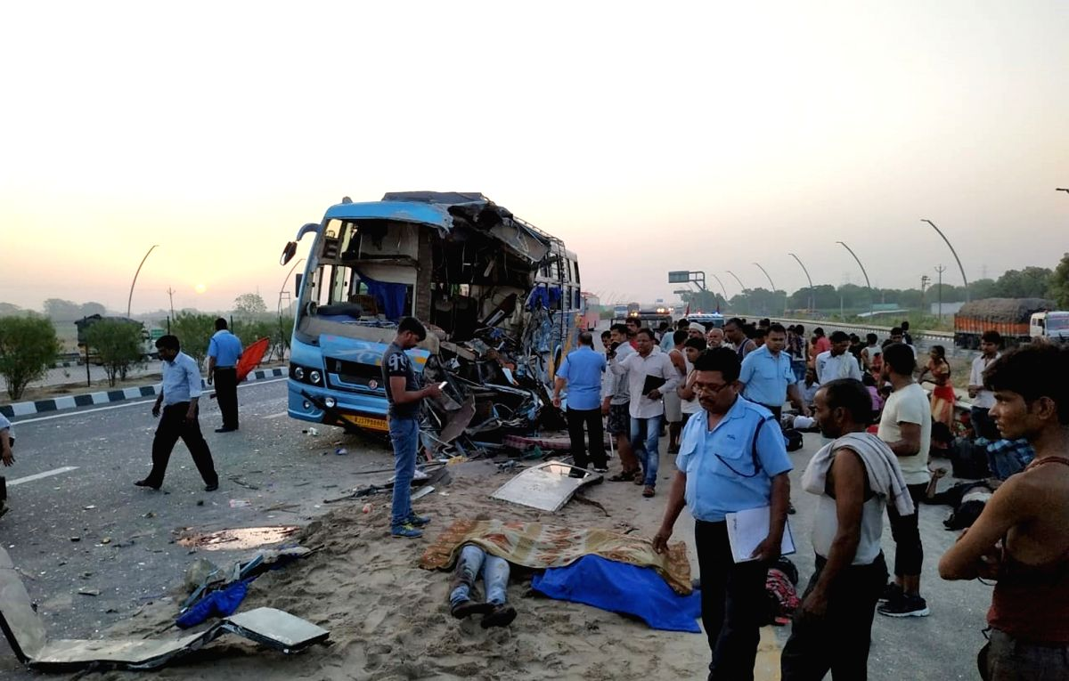 Agra: The site where a sleeper bus rammed against a sand carrying truck on the Agra-Lucknow Expressway, in Fatehabad area of Agra on June 28, 2019. Seven persons were killed and two dozen injured when the bus carrying fifty passengers from different