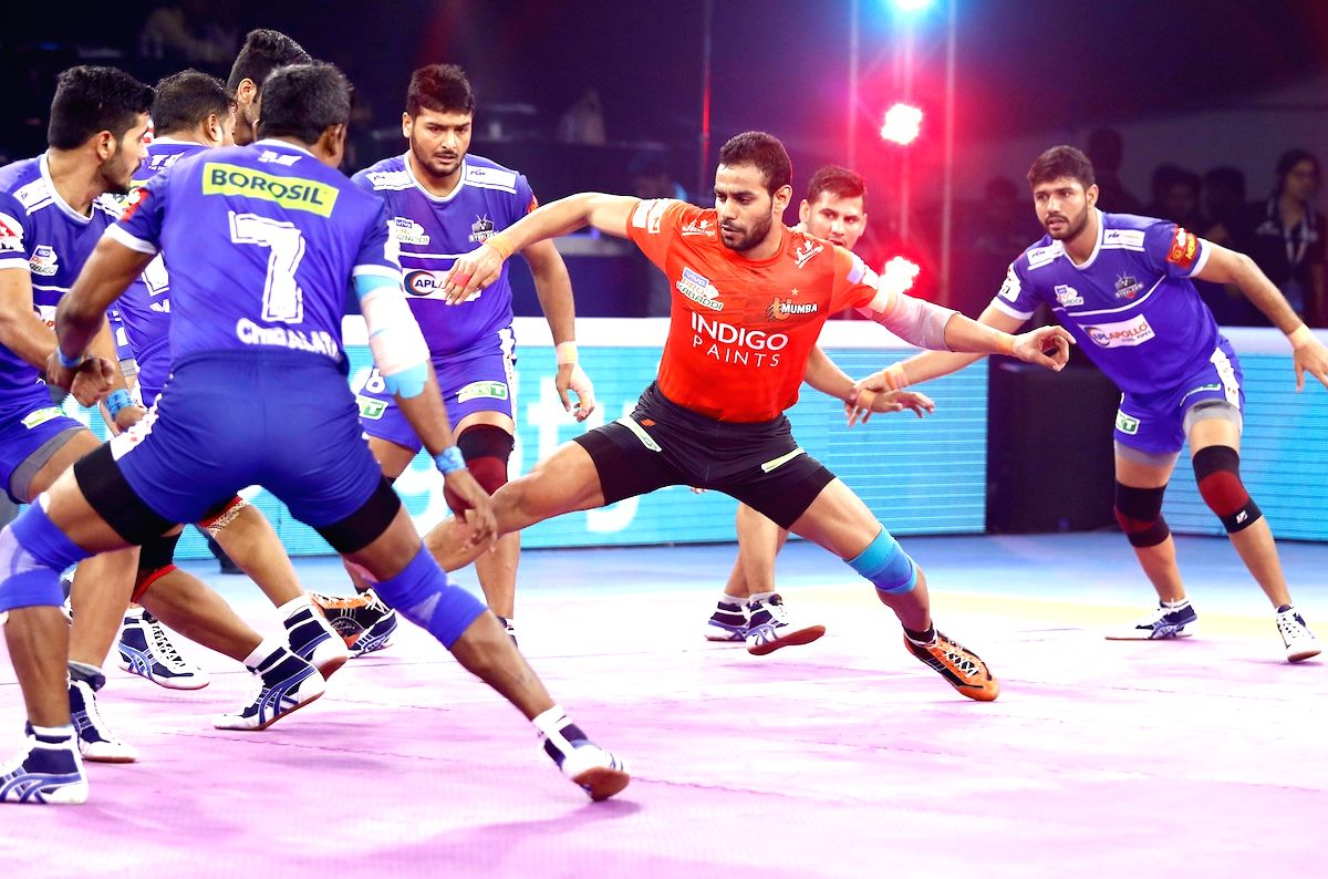 Ahmedabad: Players in action during Pro Kabaddi Season 7 Playoffs Eliminator 2 match between U Mumba and Haryana Steelers at the EKA Arena by TransStadia in Ahmedabad on Oct 14, 2019.