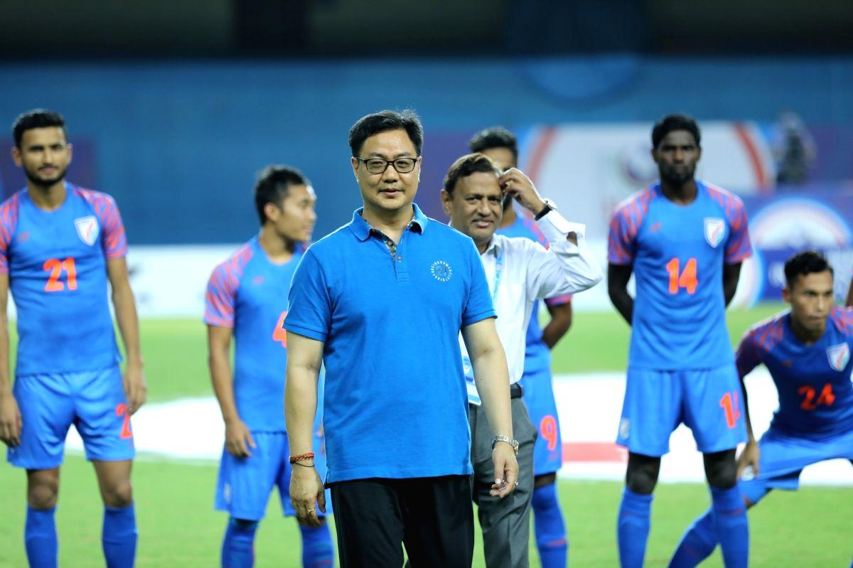 Ahmedabad: Union Sports Minister Kiren Rijiju during Hero Intercontinental Cup 2019 in Ahmedabad.