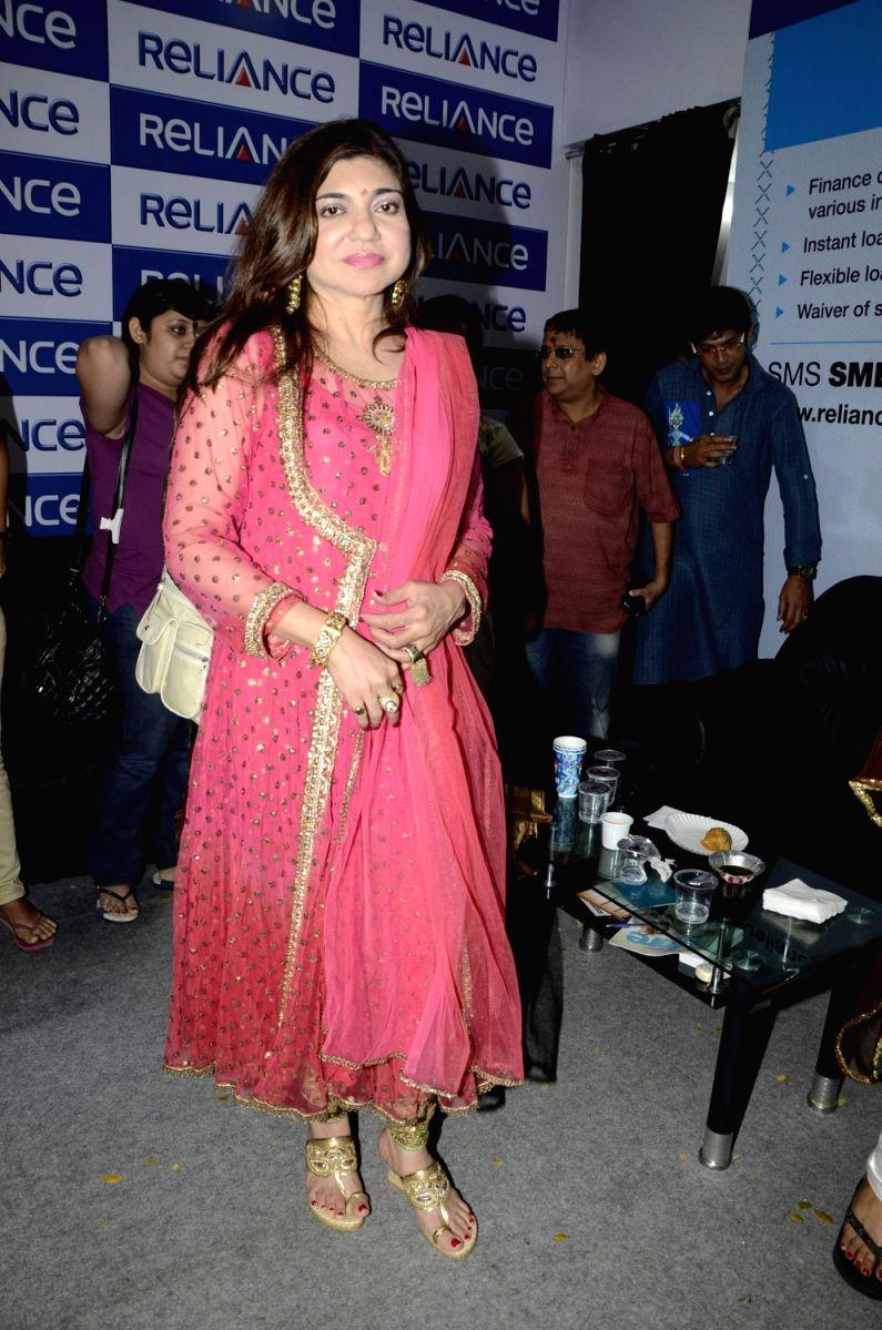 Sweet Alka Yagnik at the Puja Celebrations