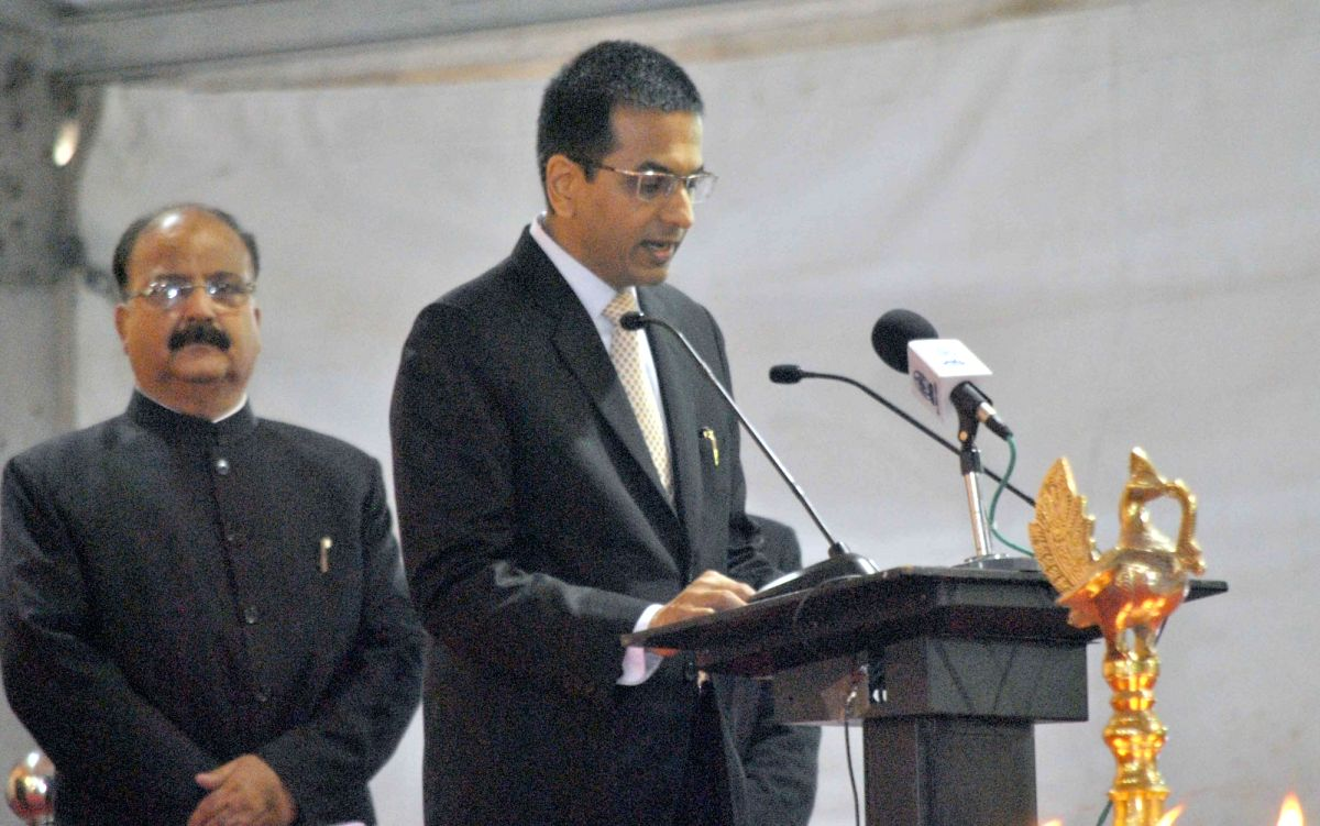 Allahabad: Chief Justice of Allahabad High Court DY Chandrachud addresses during inauguration of the Sesquicentennial Celebrations of the High Court of Judicature, in Allahabad, Uttar Pradesh on March 13, 2016. Also seen Uttar Pradesh Governor Ram Na
