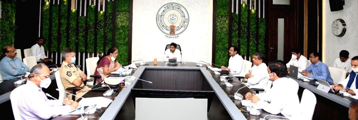 Amaravati: Andhra Pradesh Chief Minister YS Jagan Mohan Reddy chairs a review meeting on the situation of COVID-19 in the state with Deputy Chief Minister and Health Minister Alla Nani, Chief Secretary Neelam Sahni, DGP Gautam Sawang, Medical and Hea