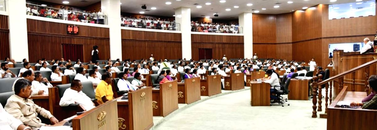 Amaravati: The leader of opposition in Andhra Pradesh Legislative Assembly and TDP MLA N. Chandrababu Naidu on the second day of the first session of the new state Assembly, in Amaravati on June 13, 2019.