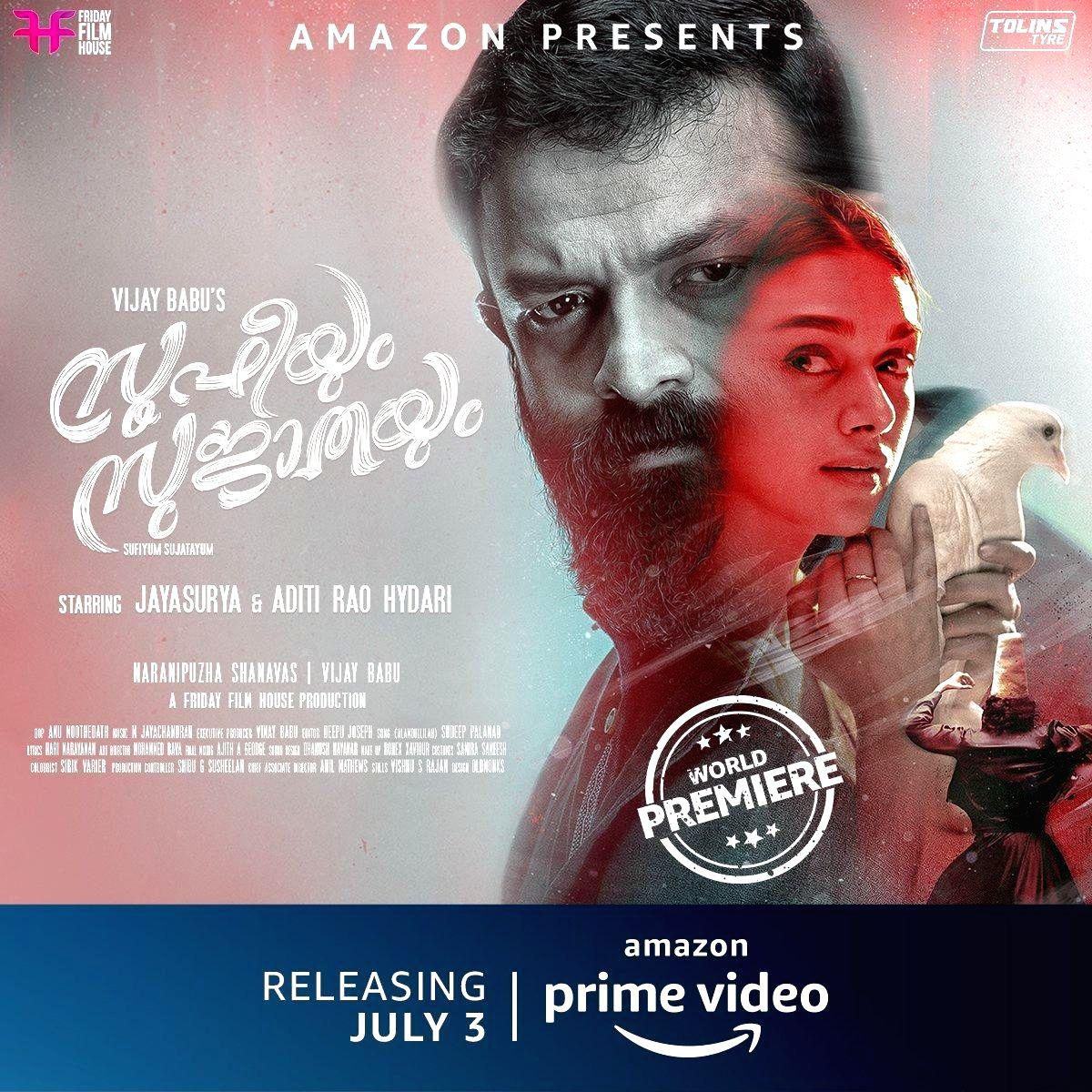 Amazon Prime Video released the trailer of Aditi Rao Hydari and Jayasuriya's upcoming musical romantic drama Sufiyan Sujatayum!.