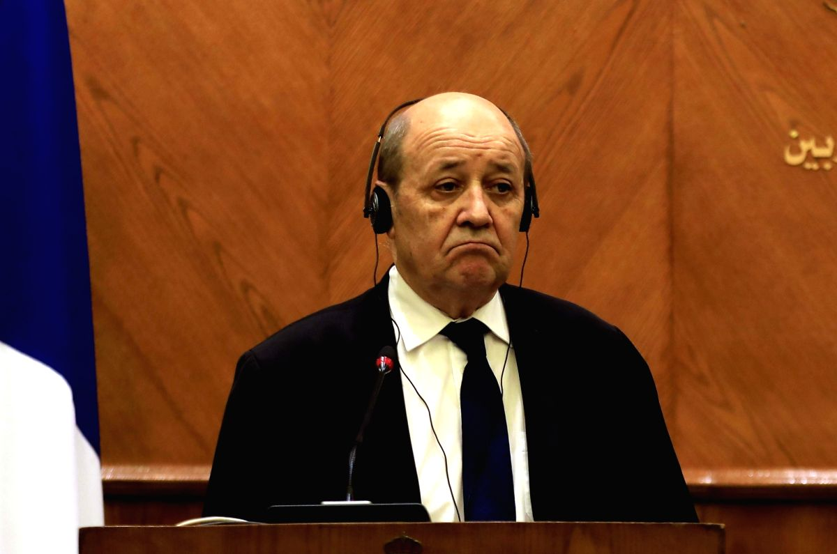 AMMAN, Jan. 13, 2019 (Xinhua) -- Visiting French Foreign Minister Jean-Yves Le Drian attends a joint press conference with Jordanian Minister of Foreign Affairs Ayman Safadi (not in the picture) in Amman, Jordan, on Jan. 13, 2019. Jordanian Minister
