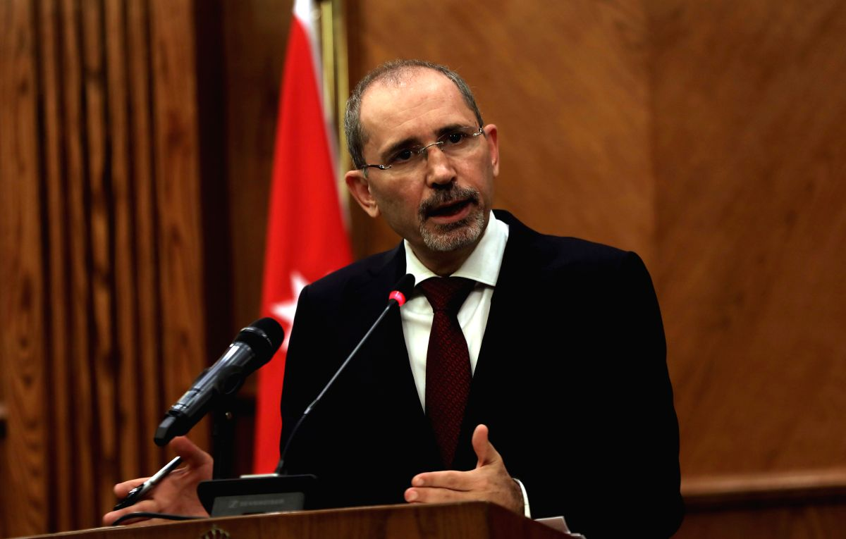 AMMAN, Nov. 11, 2019 (Xinhua) -- Jordanian Foreign Minister Ayman Safadi speaks during a press conference in Amman, Jordan, on Nov. 11, 2019. The Jordanian foreign minister said on Monday that the country's ambassador to Israel will return to Tel Avi