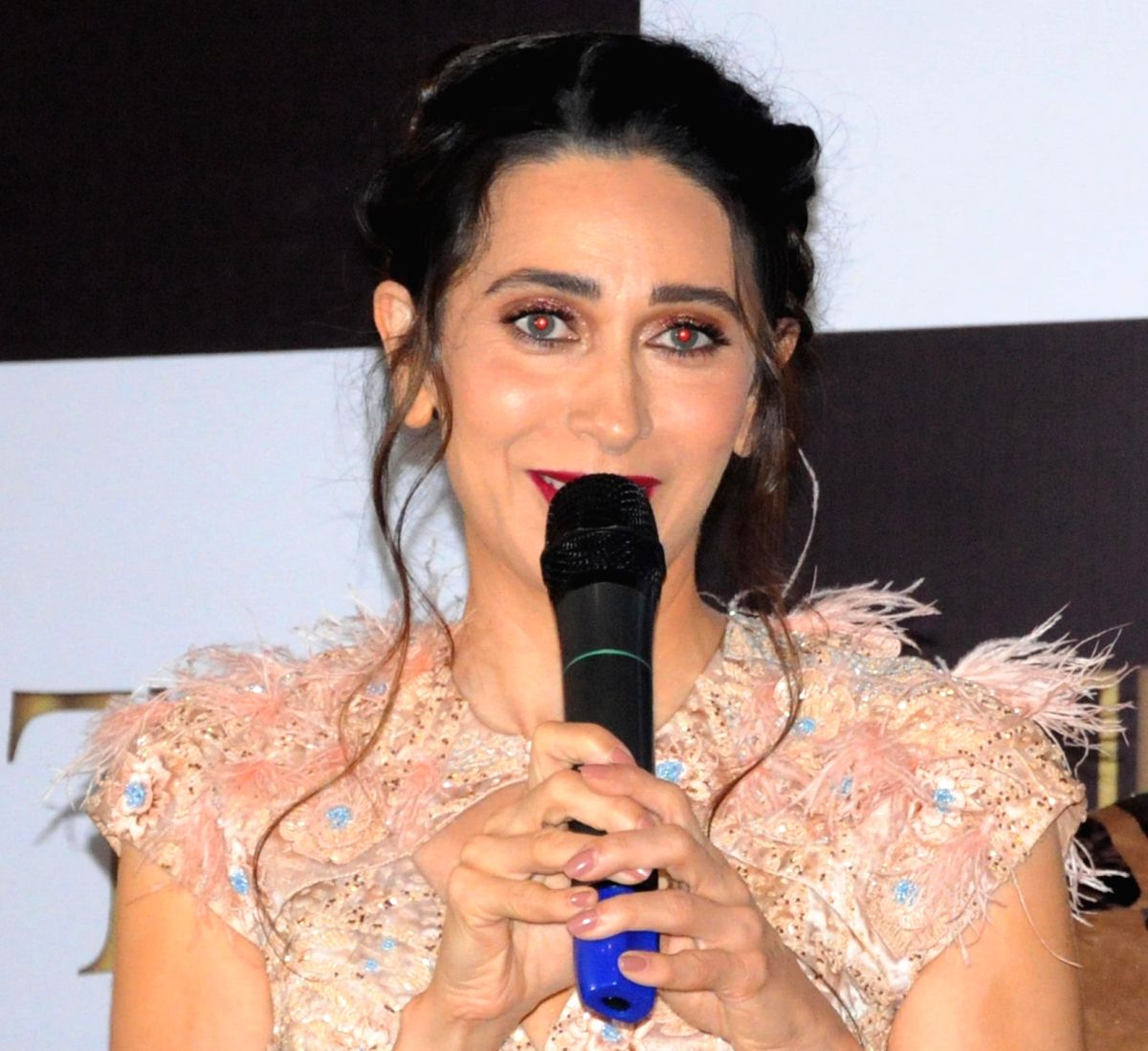 Amritsar: Actress Karisma Kapoor addresses at a fashion show in Amritsar on Nov 19, 2019.