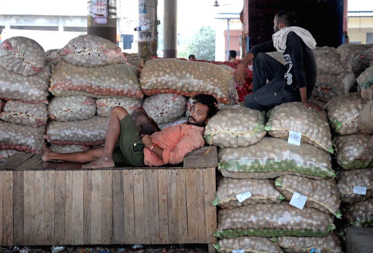 Amritsar: Sacks of onions at a wholesale vegetable market in Amritsar on Sep 24, 2019. Onion prices soared across the country due to supply disruptions due to floods in Madhya Pradesh, Maharashtra and some southern states. Last week's rainfall has fu