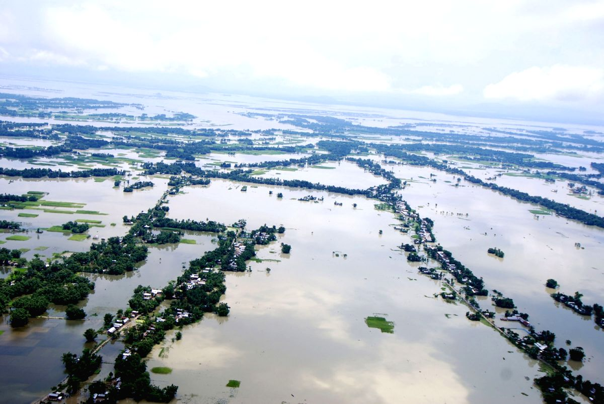 Assam: An aerial view of flood hit districts of Assam.