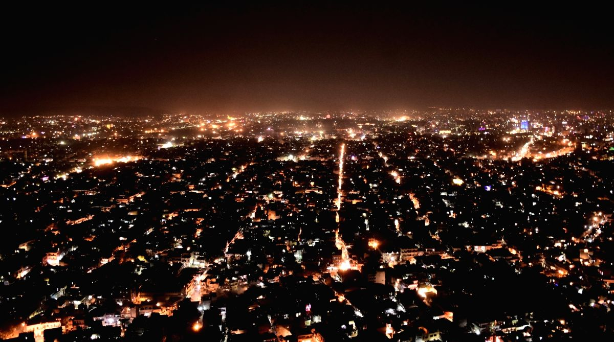 An aerial view of Nahargarh Fort ahead of Diwali in Jaipur