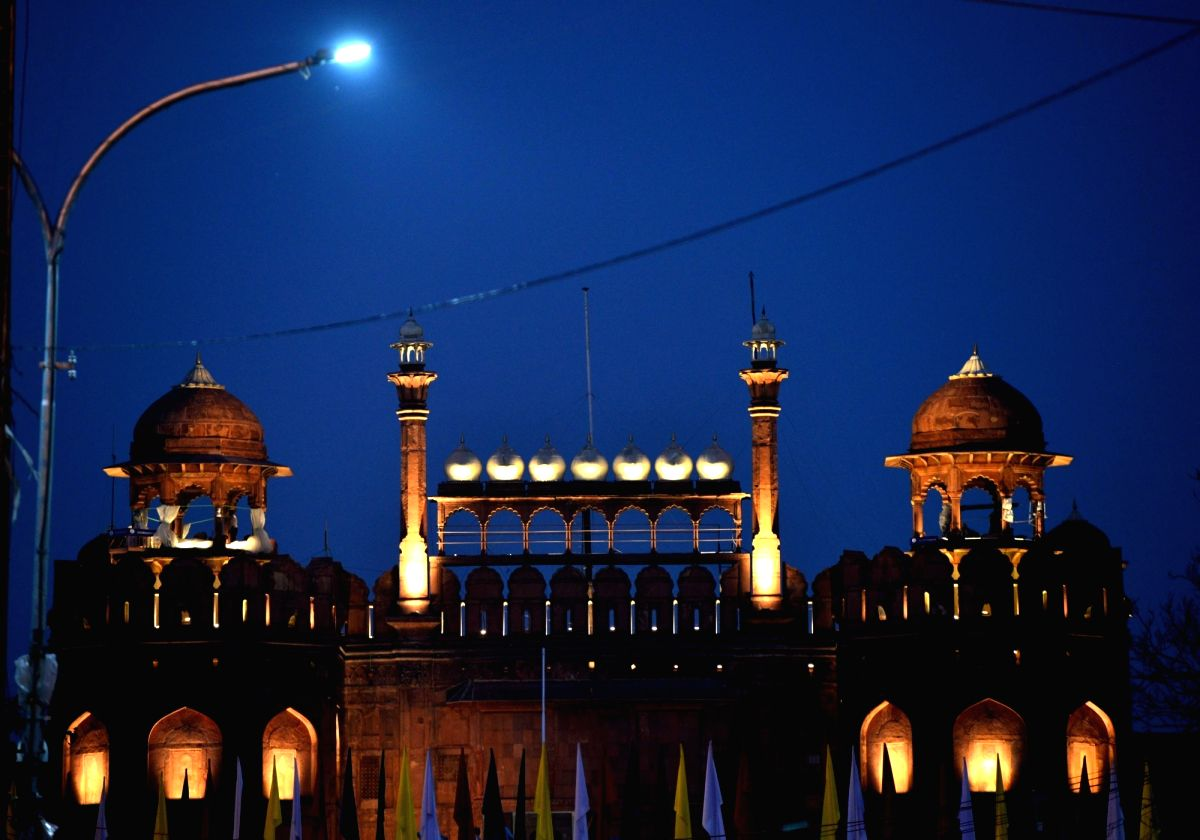 An illuminated Red Fort in New Delhi on Aug 14, the eve before India's Independence Day