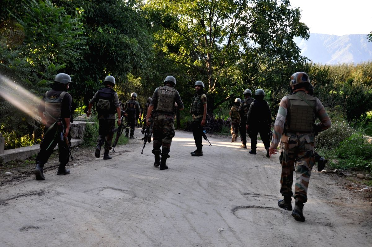 Anantnag: Security personnel carry out search operations after a top Jaish-e-Muhammad (JeM) commander, involved in the attack on June 12 attack that left 5 CRPF troopers dead, was killed in a gunfight with security forces at Wabzun village of Bijbeha