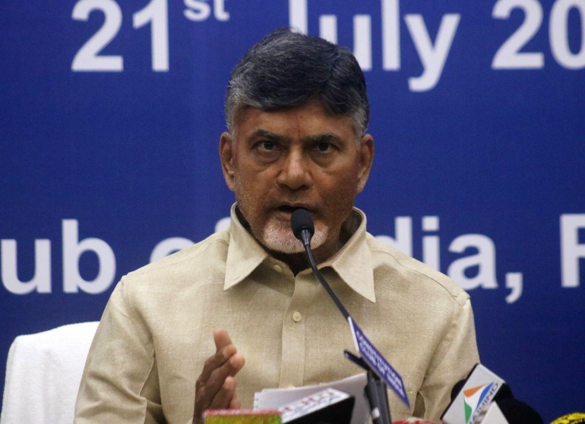 Andhra Pradesh Chief Minister and Telugu Desam Party (TDP) chief N. Chandrababu Naidu addresses a press conference, in New Delhi on July 21, 2018.
