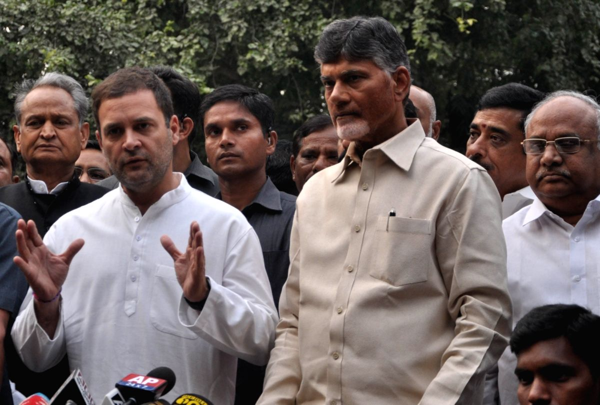 Andhra Pradesh Chief Minister and Telugu Desam Party (TDP) chief N. Chandrababu Naidu and Congress president Rahul Gandhi talk to press after a meeting in New Delhi on Nov. 1, 2018.