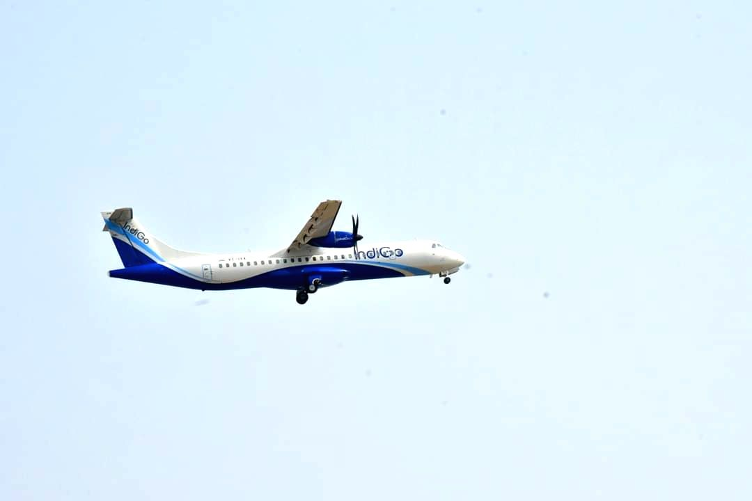 Andhra Pradesh: First flight lands with passengers at Orvakal airport in Kurnool on Monday 29th March, 2021. (Photo: snapsindia/IANS)