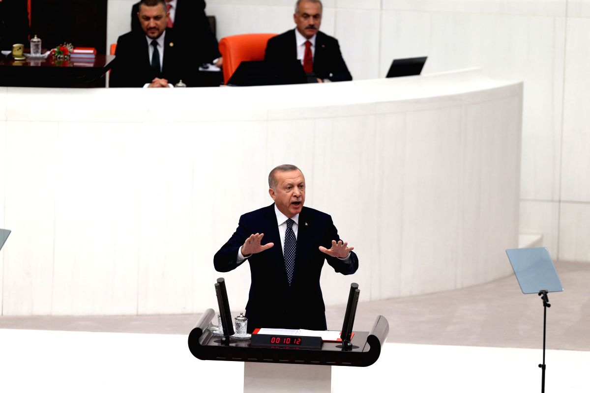 ANKARA, Oct. 1, 2019 (Xinhua) -- Turkish President Recep Tayyip Erdogan speaks at the opening ceremony of the new legislative year of the Turkish parliament in Ankara, Turkey, on Oct. 1, 2019. Recep Tayyip Erdogan revealed on Tuesday for the first ti