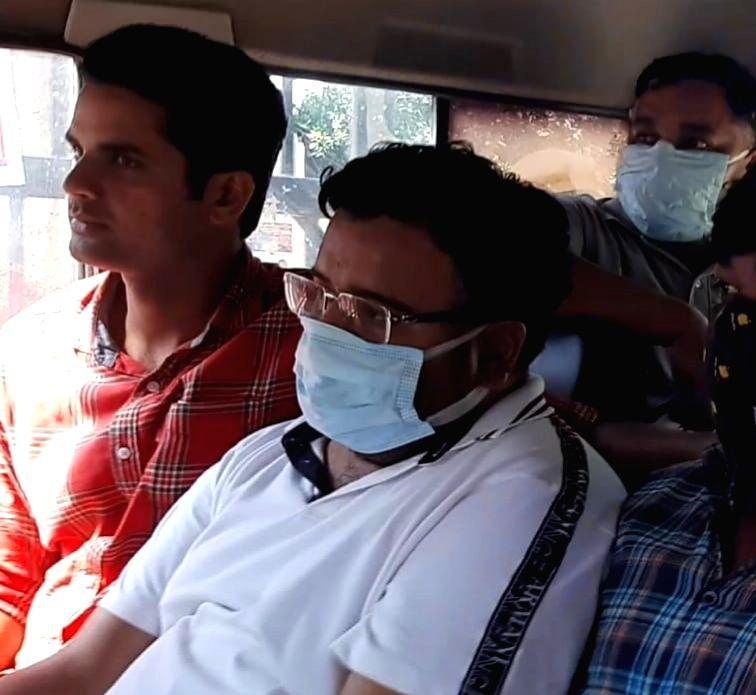 Ashish Mishra at crime scene recreation in Lakhimpur.
